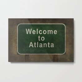 Welcome to Atlanta roadside sign illustration Metal Print