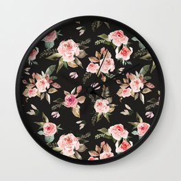 Pink flowering in the dark I Wall Clock