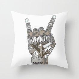 Mech-Rock Throw Pillow