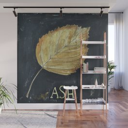 Hand-Painted Fall Ash Leaf Wall Mural
