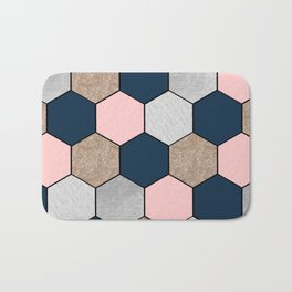 Navy and peach marble and foil hexagons Bath Mat