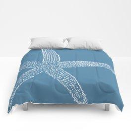 Starfish-white on blue Comforters