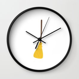 Witches broom for halloween Wall Clock