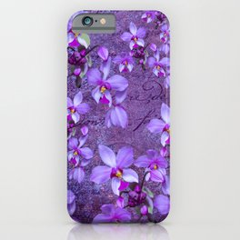 purple orchids on a textured wall iPhone Case
