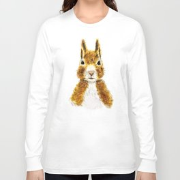 cute little squirrel watercolor Long Sleeve T-shirt