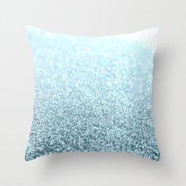 Ice Blue Glitter Sparkle Throw Pillow