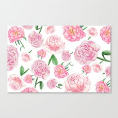 Watercolor Peonies Canvas Print