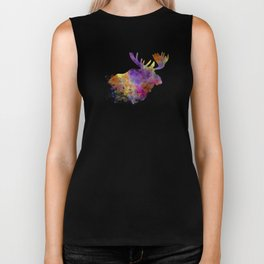 Moose 04 in watercolor Biker Tank