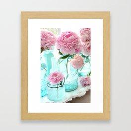 Shabby Cottage Pink Peonies Vintage Mason Jars Framed Art Print
