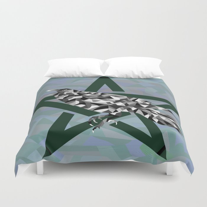 Mosaic Crow and Pentacle  Duvet Cover