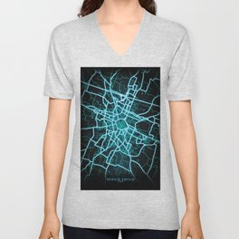 Reggio Emilia, Italy, Blue, White, Neon, Glow, City, Map Unisex V-Neck