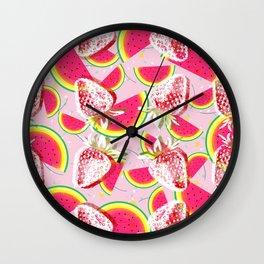 Strawberries Melon Fiesta Pattern Wall Clock