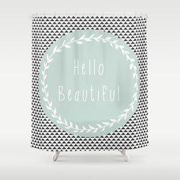 Hello Beautiful, Geometric, Quote, Modern, Home Decor Shower Curtain