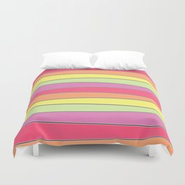 Summer Color Palette Crooked Stripes Duvet Cover