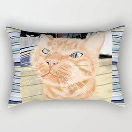 Oliver the Sniffy Red Tabby Cat Rectangular Pillow