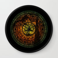gondor Wall Clocks featuring Tree of Gondor Stained Glass by Mazuki Arts