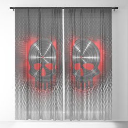 Vinyl Skull RED / The end of tunes Sheer Curtain