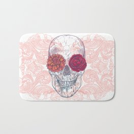 Double Flowers Skull Bath Mat