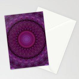 Pink flowers mandala Stationery Cards