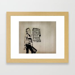 Banksy quote graffiti If You Want to Achieve Greatness stop asking for permission Framed Art Print