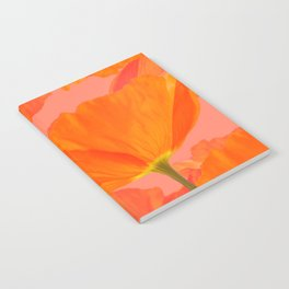 Beautiful Poppies Coral Color Background #decor #society6 #buyart Notebook