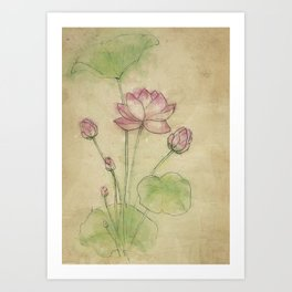 Lotus flower vintage Art Print