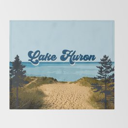 Lake Huron Retro Throw Blanket