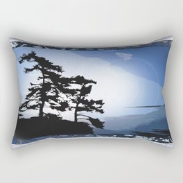 TWO WINDSWEPT DOUGLAS FIR ON THE SHORELINE Rectangular Pillow