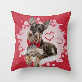 Cute Schnauzer on Hearts Pattern Throw Pillow