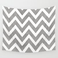 gray Wall Tapestries featuring gray chevron by her art