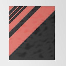 Modern simple geometrical bright orange black stripes Throw Blanket