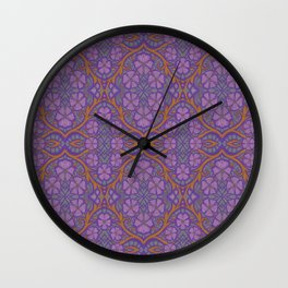 Nocturnal flowers, floral arabesque Wall Clock