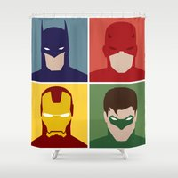 heroes Shower Curtains featuring Minimalist Heroes by ~ isa ~