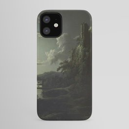 The Beautiful Ruins, Boats on a Moonlit Lake with Gothic Church landscape painting by Sebastian Pether iPhone Case