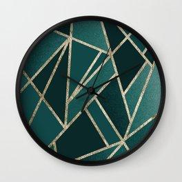 Classic Teal Champagne Gold Geo #1 #geometric #decor #art #society6 Wall Clock