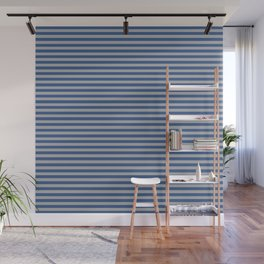 Blue and Gray Vintage Thin Stripes Wall Mural