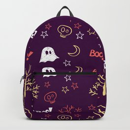 Happy halloween ghosts, moons, coffins, trees and boo pattern Backpack