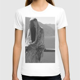 Lake Como, Ghost Sculpture over looking Italian Lake black and white photograph / art photography T-shirt