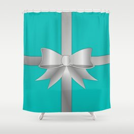 Blue Gift Box Shower Curtain