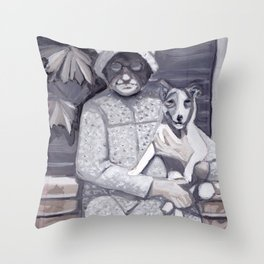 An Old Lady and Her Little Dog in Gouache Throw Pillow