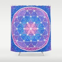 flower of life Shower Curtains featuring Starry Flower of Life by Elspeth McLean