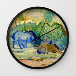 """Franz Marc """"Horses at Pasture (also known as Horses in a Landscape)"""" Wall Clock"""
