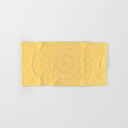 The Most Detailed Intricate Mandala (Mustard Yellow) Maze Zentangle Hand Drawn Popular Trending Hand & Bath Towel