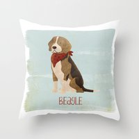 beagle Throw Pillows featuring Beagle by 52 Dogs