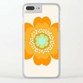 Jivin' - 70's retro throwback art floral flower motif decor hipster Clear iPhone Case