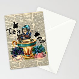 Tea Time - Alice In Wonderland - Vintage Dictionary Page Stationery Cards