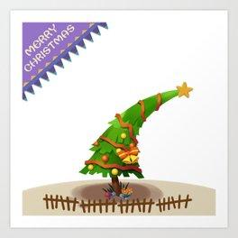 The Christmas Tree wishes You Merry Christmas Art Print