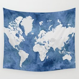 Navy blue watercolor and light grey world map with countries (outlined) Wall Tapestry