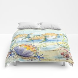 Sea Turtles, Coral and Kelp Comforters