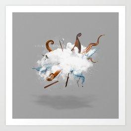 Dust-Ups: Viking vs Kraken Art Print